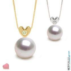 Pendente Oro 14k Diamante Perla Australiana Bianca 9-10 mm AAA