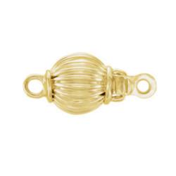Fermaglio sferico 10 mm in oro giallo 14k striato per filo di perle