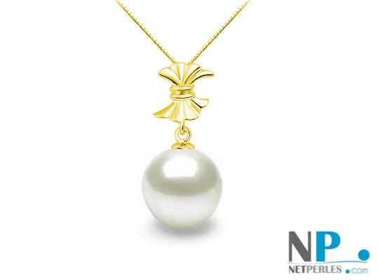Pendente Alliance in oro giallo 18k con perla bianca Akoya qualità AAA