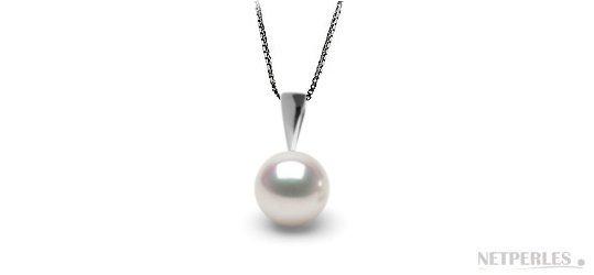 Pendente Argento 925 rodiato con perla bianca d'acqua dolce