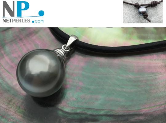 Pendente Argento 925 cuoio con perla di Tahiti barocca 12-14 mm