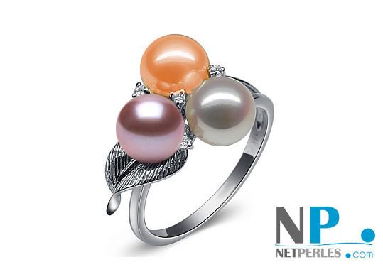 Anello in Oro 18k con perle DOLCEHADAMA 6-7 mm 3 colori; bianca, pesca e lavanda