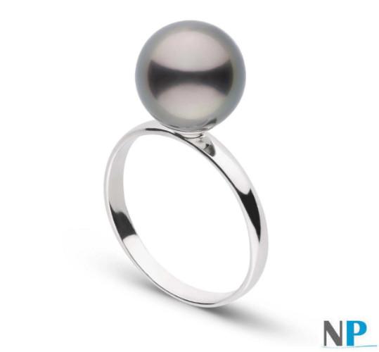 Anello in argento  con perla di coltura di Tahiti AAA