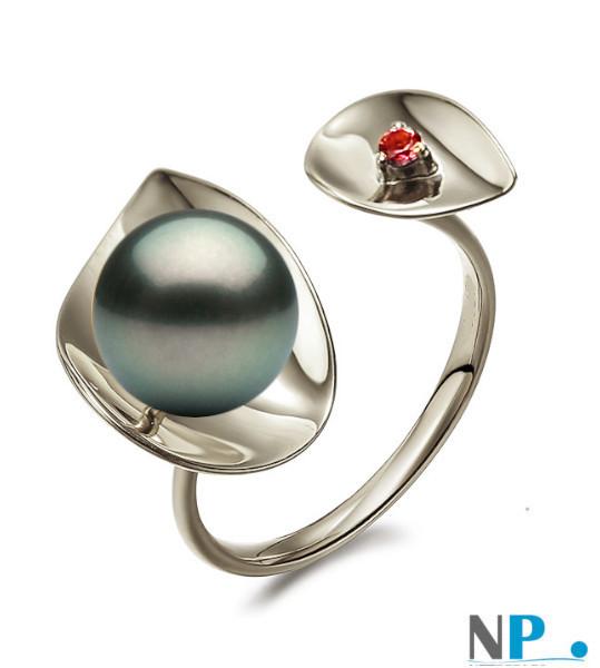 Anello in argento rodiato con perla nera di Tahiti  e pietra tormalina rossa