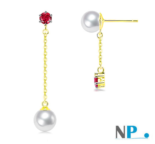 Orecchini in oro giallo 9k con pietre Tormaline rosse e Perle Akoya AAA