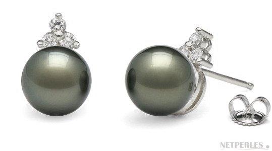 Orecchini oro 18k e diamanti con perle di Tahiti