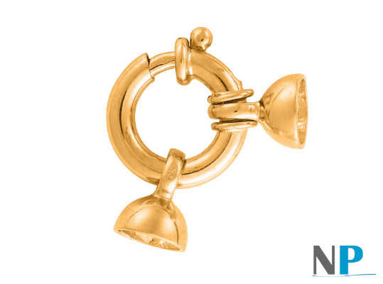 Fermoir Bouée pour collier de perles en or jaune 18 carats