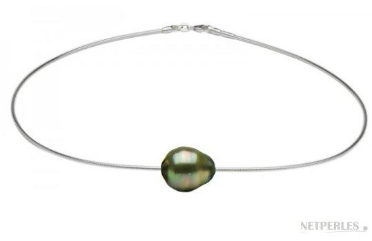Cavo in argento con perla di Tahiti barocca