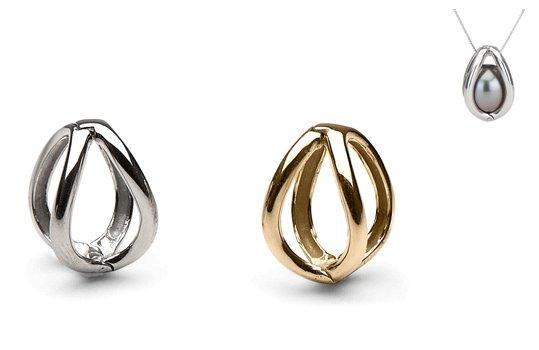 Pendente Gabbia in oro 14 carati per una perla di coltura non forata