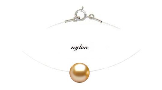 Fil nylon passante una perla Akoya dorata, collana originale!