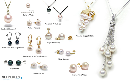 Collezione di gioielli di perle akoya, perle del Giappone, autentiche perle di ostriche perlifere