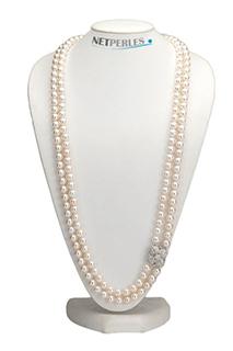 Lunga collana sautoir di perle d'acqua dolce, esempio di collana di perle di misura personalizzata
