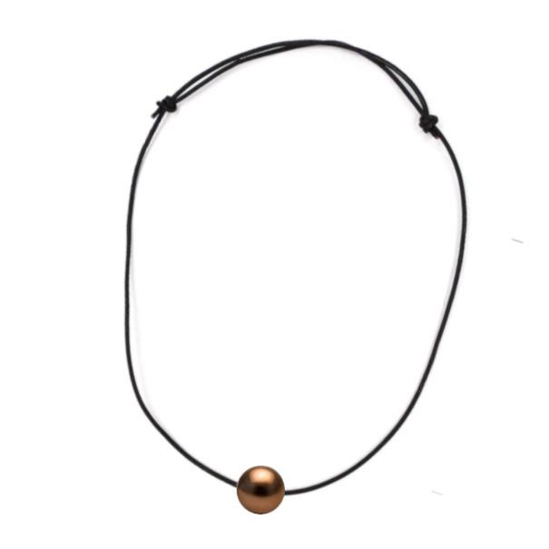 Collana su laccio di cuoio nero e perla Cioccolato di Tahiti