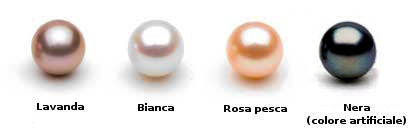 Perle d'acqua dolce: Lavanda, bianca, rosa pesca e nera