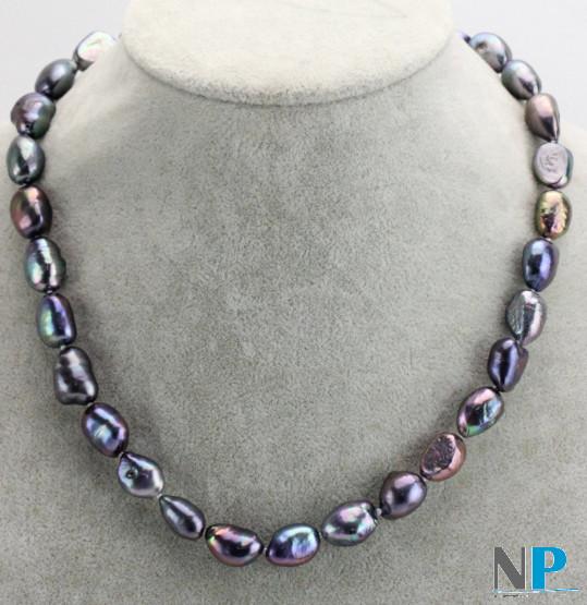 Collana da 45 cm di perle d'acqua dolce nere barocche