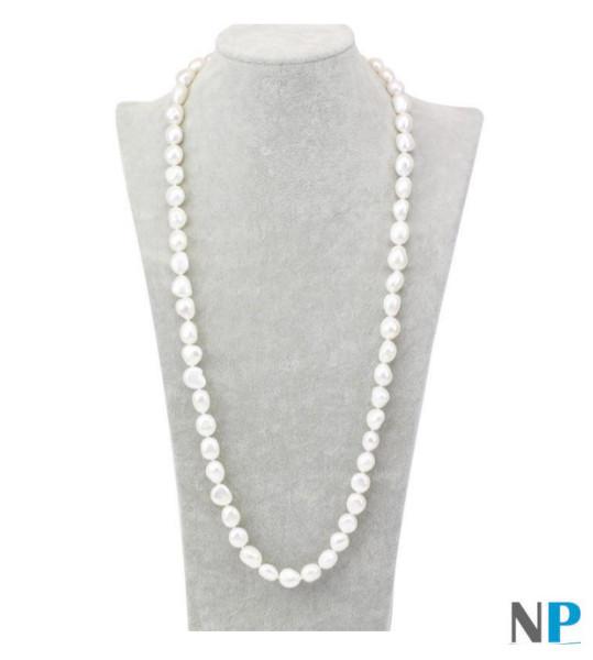 Sautoir - Collana lunga 90 cm - Perle d'acqua dolce bianche barocche