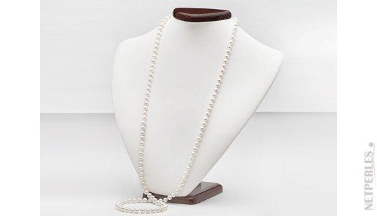 Sautoir dI perle d'acqua dolce blanche
