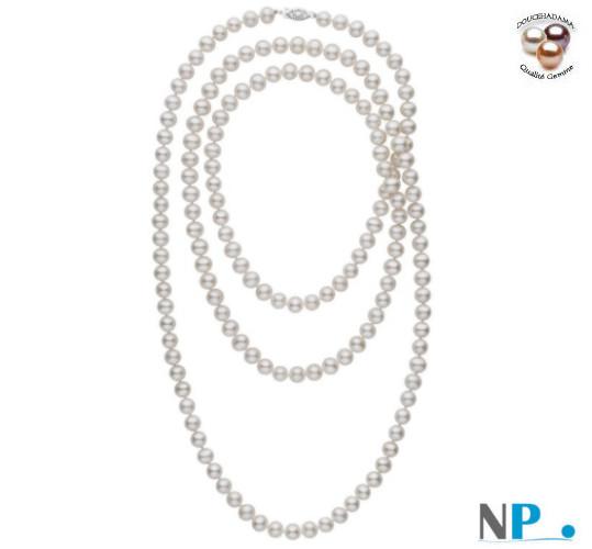 Collana sautoir di perle d'acqua dolce DOLCEHADAMA bianche