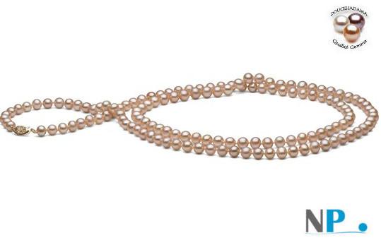 Sautoir di perle d'acqua dolce 130 cm  rosa pesca DOLCEHADAMA