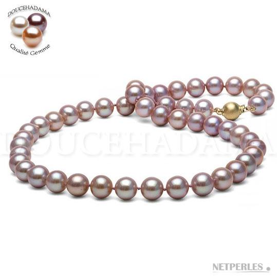 Collana di perle color lavanda