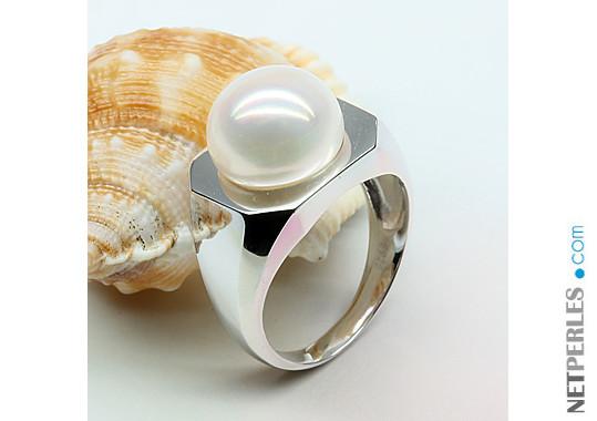 Anello Argento 925 Perla d'Acqua Dolce bianca di grande diametro
