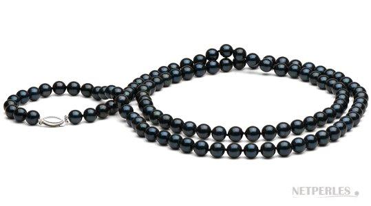 Collana 72 cm perle nere Akoya
