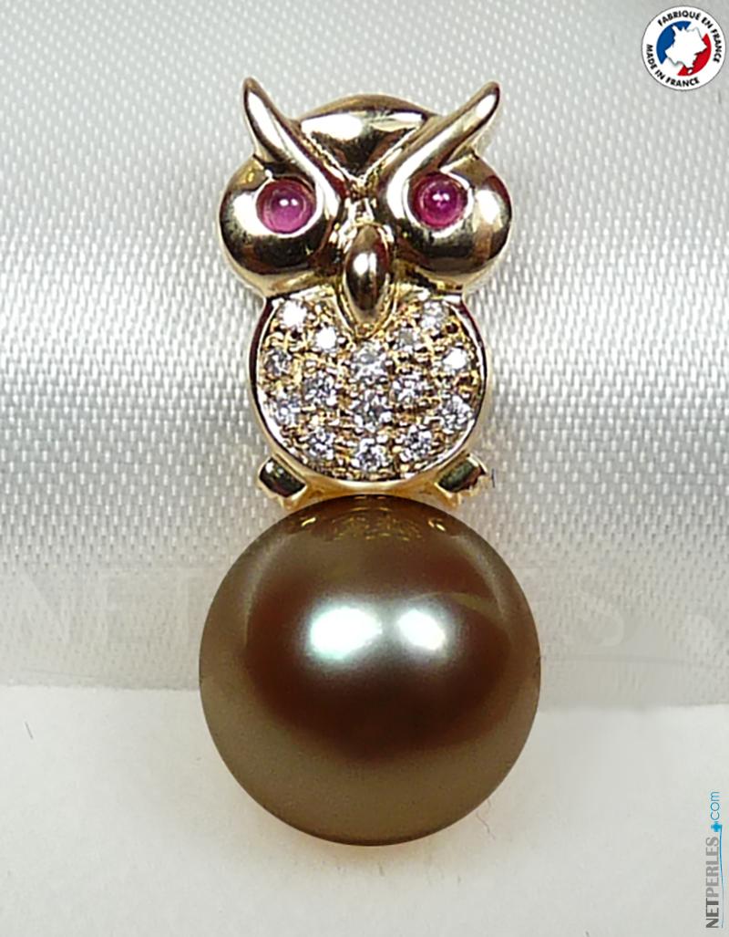 Gufo in oro 18k con diamanti e Perla di Tahiti