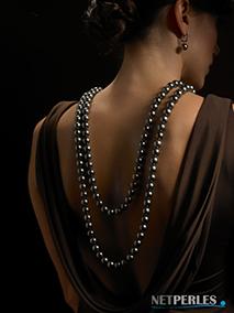 Lunga Collana di perle di Tahiti, perle nere