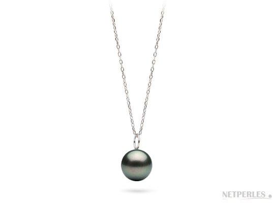 Pendente in argento con perla nera di Tahiti