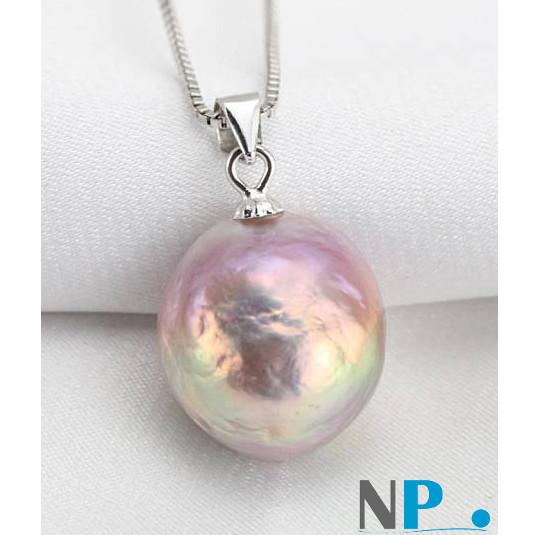 Pendente in argento con perla Soufflé multiriflesso