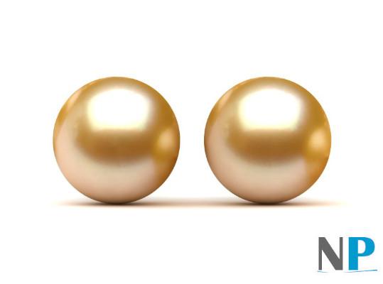 Paio di perle Gold Akoya (dorate) da 8-8,5 mm semi forate qualità AAA
