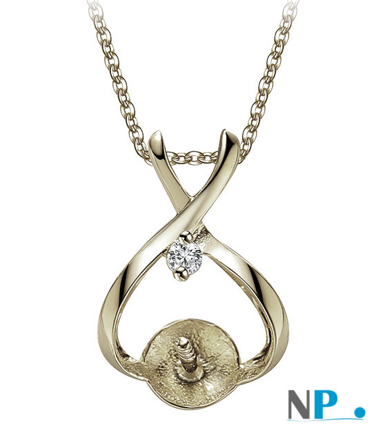 Appretto da gioielleria: beliera in oro bianco 9k per pendente con perla di coltura (perla non inclusa)