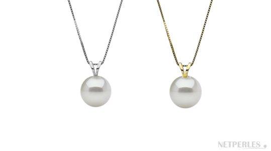 Pendente in oro bianco e oro giallo con perla coltivata d'acqua dolce bianca