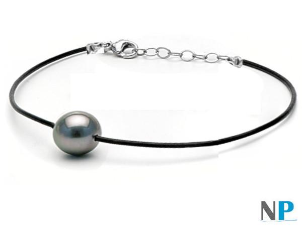 Braccialetto Perla di Tahiti su laccio di cuoio nero con fermaglio in argento regolabile