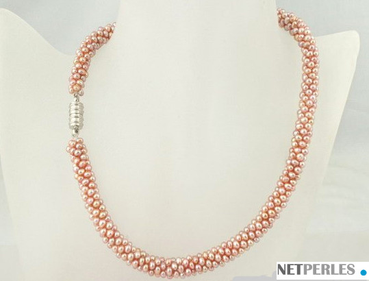 Collana 45 cm di perle di coltura d'acqua dolce lavanda  da 2 mm intrecciate