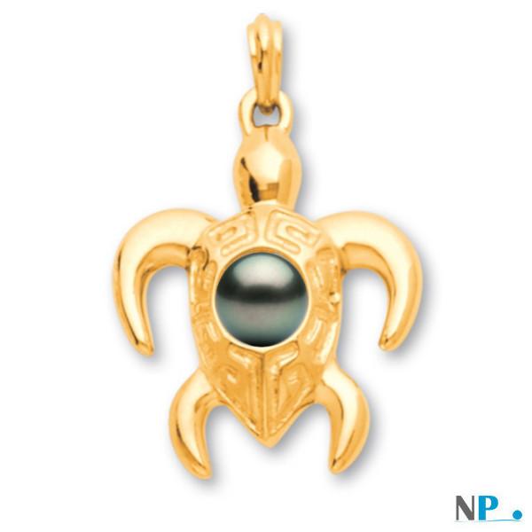 Pendente a forma di tartaruga in oro 18k con perla di Tahiti