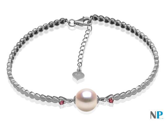 Bracciale in Oro bianco 9k  tormaline rosse perla d'acqua dolce DOLCEHADAMA
