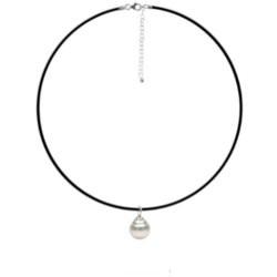 Collana in caucciù Ø 1,3 mm, 42 cm, pendente Mignon Argento 925 Perla barocca d'Australia Bianca