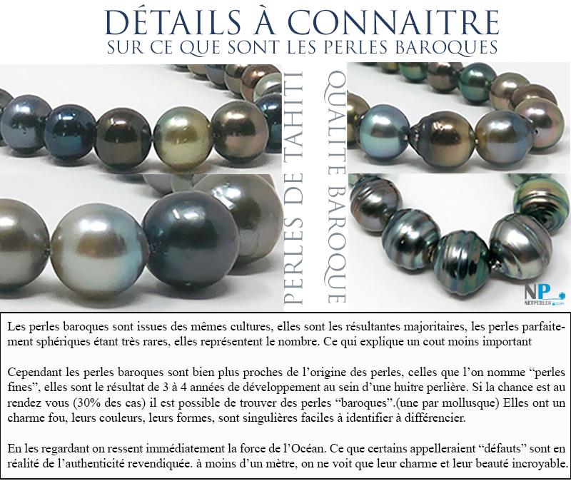 Collier de perles baroques de Tahiti, perles noires, details sur ces perles au charme et a l'esprit iode