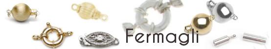 Fermagli in argento e in oro 14k o 18k per collane di perle e lacci di cuoio