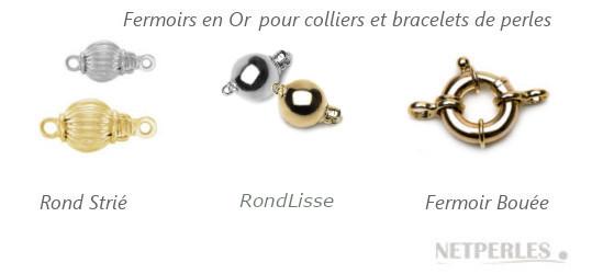 Fermoirs de sécurité pour colliers de perles en or 14 ou 18 carats