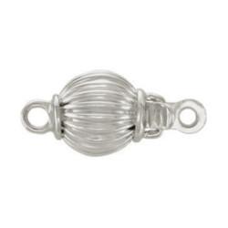 Fermaglio sferico 6 mm in oro bianco 18k striato per filo di perle