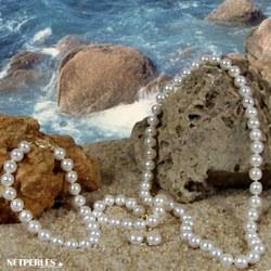 Parure 3 gioielli di perle di coltura d'acqua dolce 45/18 cm 7-8 mm bianche