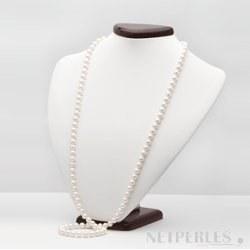 Sautoir 90 cm di perle d'acqua dolce bianche 7-8 mm