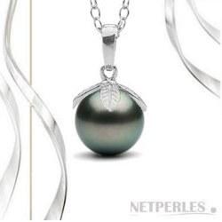 Pendente Argento 925 e perla di coltura di Tahiti nera 9-10 mm