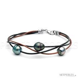 Braccialetto perle Tahiti barocche 9-10 mm su lacci intrecciati di cuoio