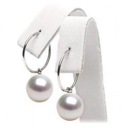 Orecchini creoli Argento 925 perle di coltura Australiane bianche qualità AAA