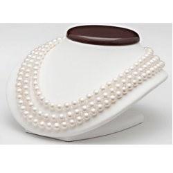 Collana Triplo Filo 43/45/47 cm Perle Acqua Dolce bianche 8-9 mm