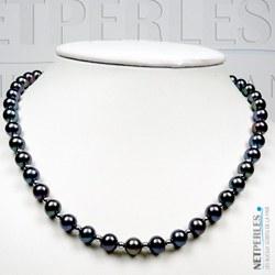 Collana 45 cm Perle d'acqua dolce nere 7-8 mm AAA e biglie in oro 14k