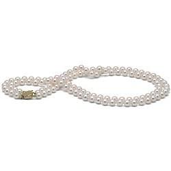 Collana doppio filo di perle di coltura Akoya, 6-6.5 mm, bianche